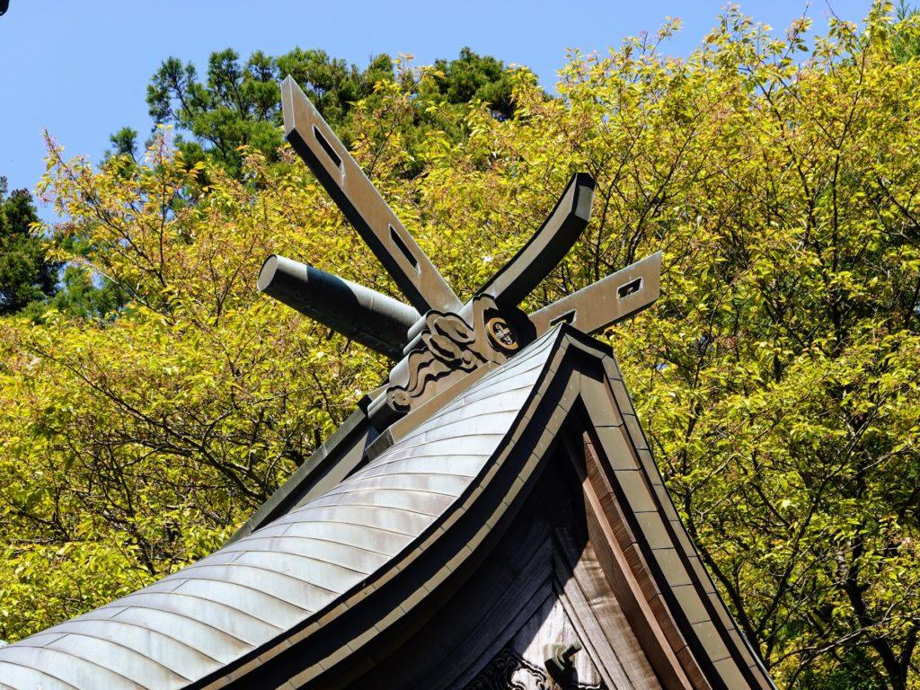 八幡西区市瀬の鷹見神社の社殿の屋根