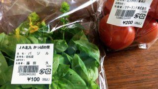 若松かっぱの里で買ったバジルとトマト